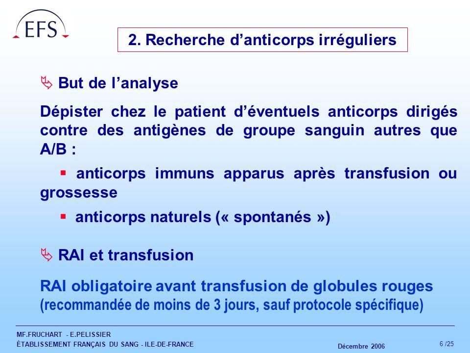2. Recherche d'anticorps irréguliers