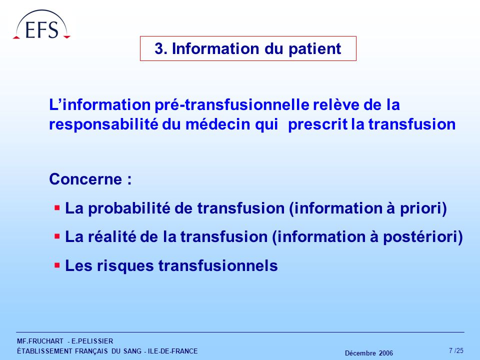 3. Information du patient