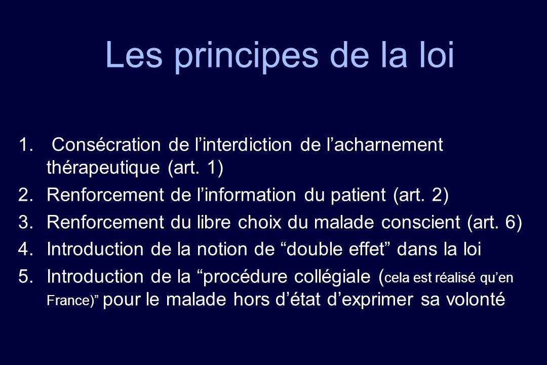 Les principes de la loi Consécration de l'interdiction de l'acharnement thérapeutique (art. 1) Renforcement de l'information du patient (art. 2)