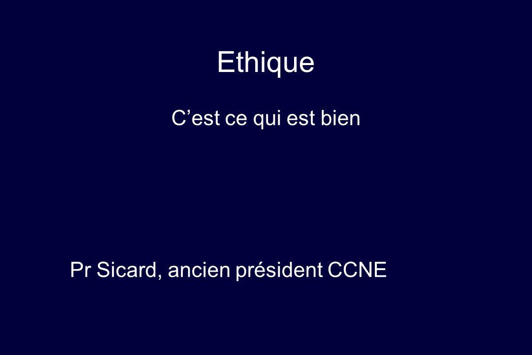 Ethique C'est ce qui est bien Pr Sicard, ancien président CCNE
