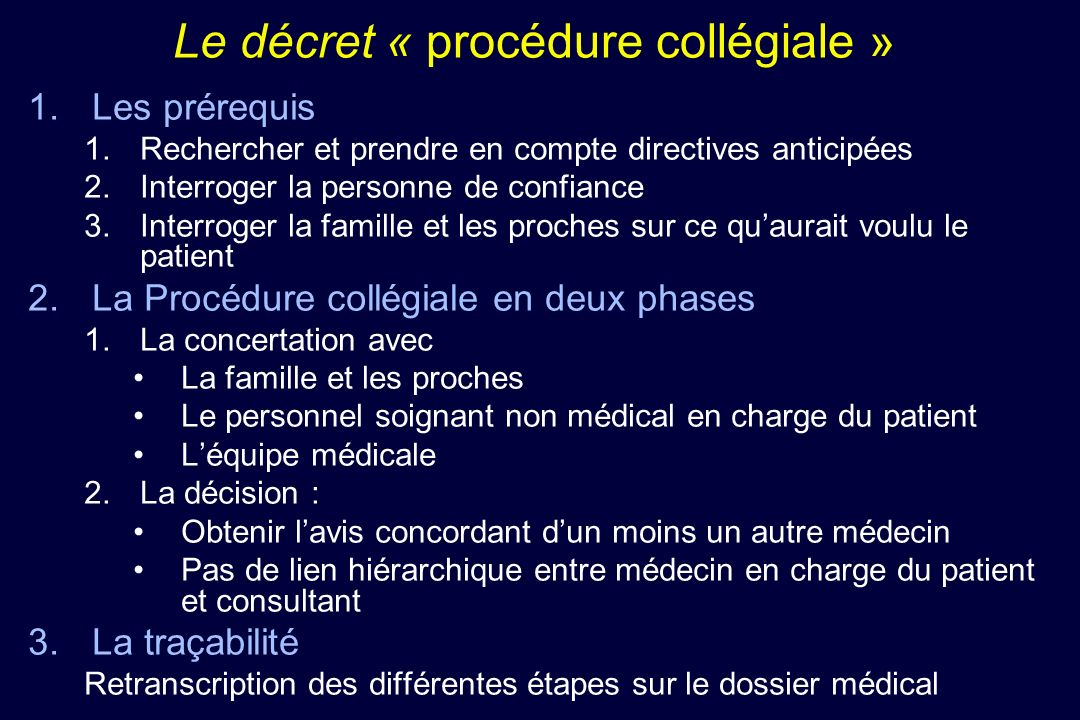Le décret « procédure collégiale »