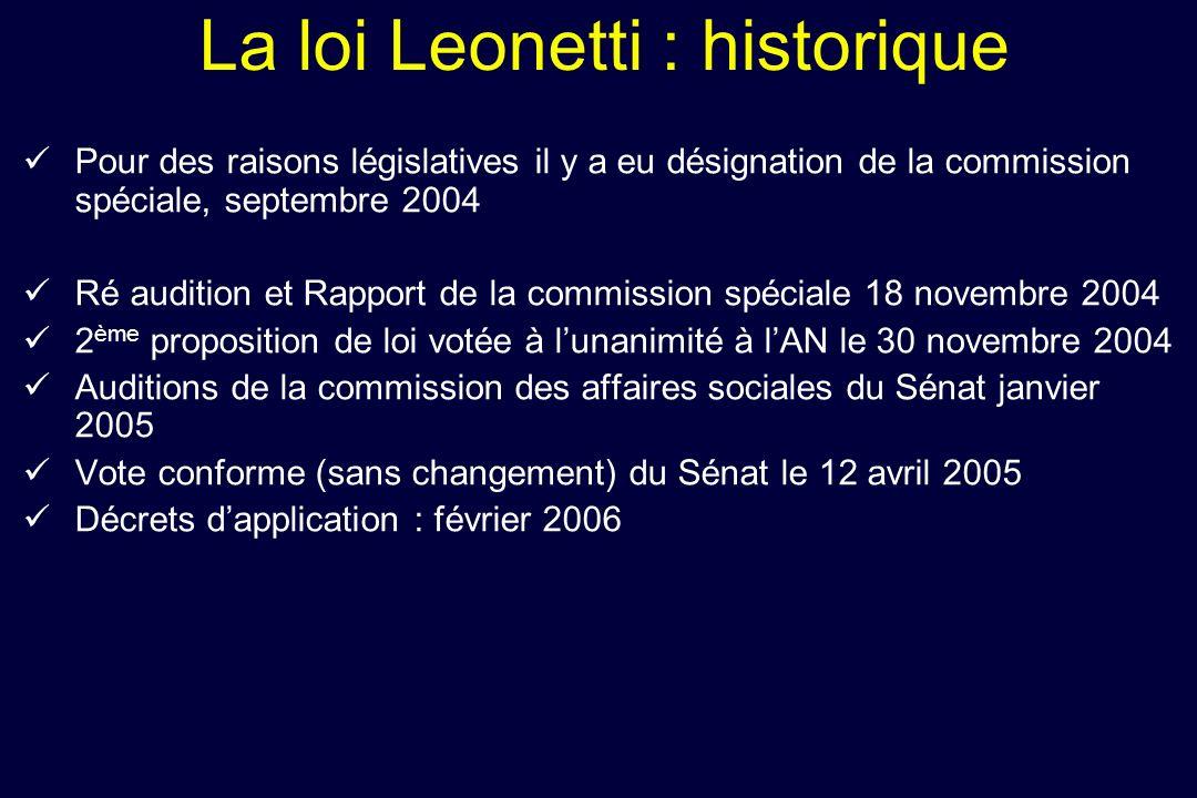 La loi Leonetti : historique