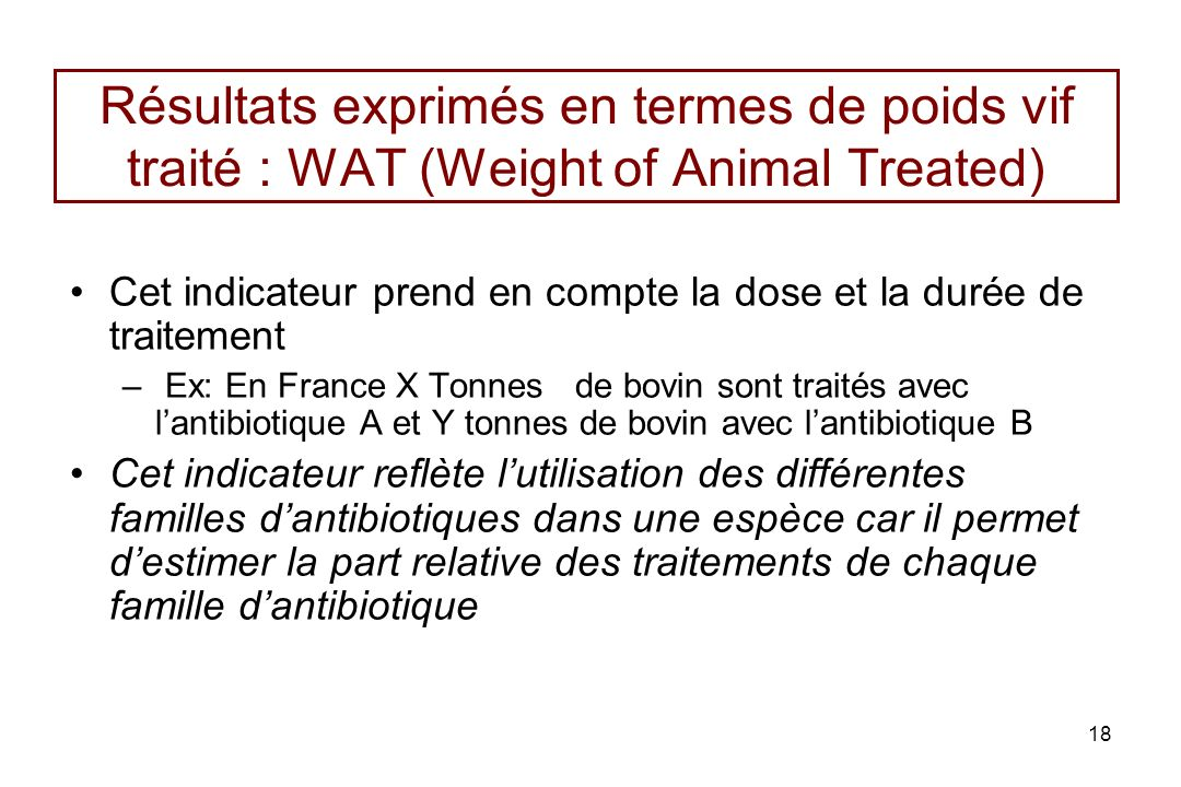 Résultats exprimés en termes de poids vif traité : WAT (Weight of Animal Treated)
