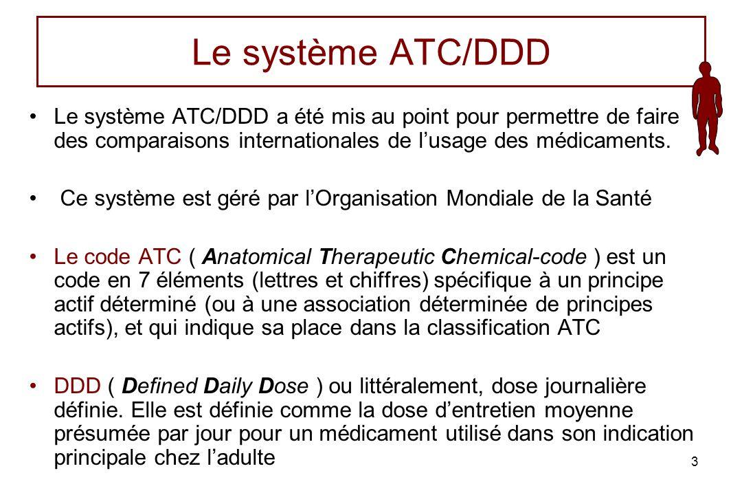 Le système ATC/DDD Le système ATC/DDD a été mis au point pour permettre de faire des comparaisons internationales de l'usage des médicaments.