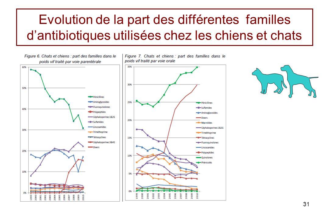 Evolution de la part des différentes familles d'antibiotiques utilisées chez les chiens et chats