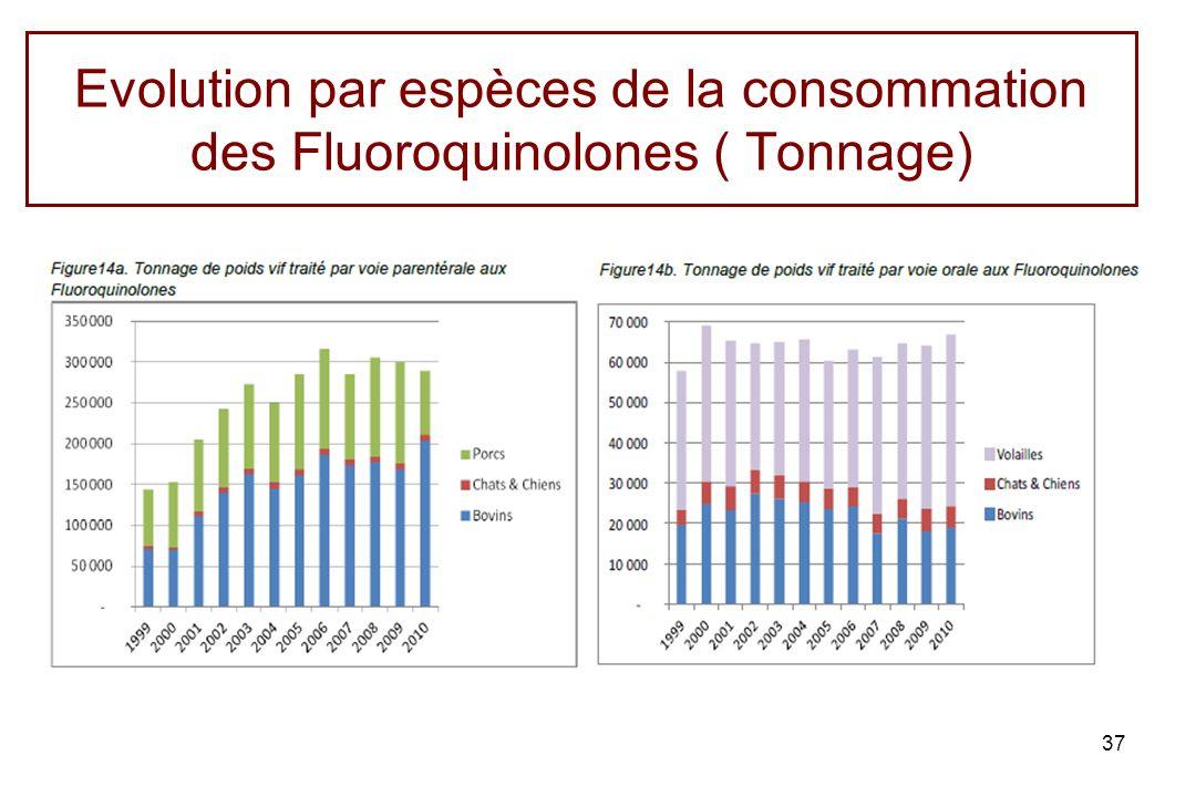 Evolution par espèces de la consommation des Fluoroquinolones ( Tonnage)