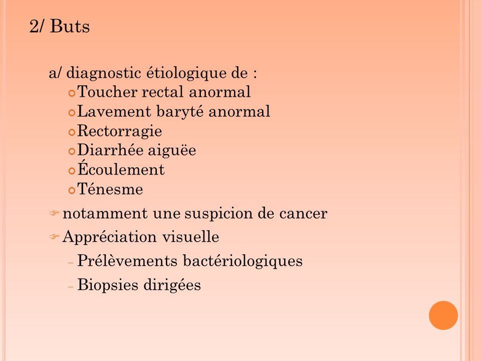 2/ Buts a/ diagnostic étiologique de : Toucher rectal anormal