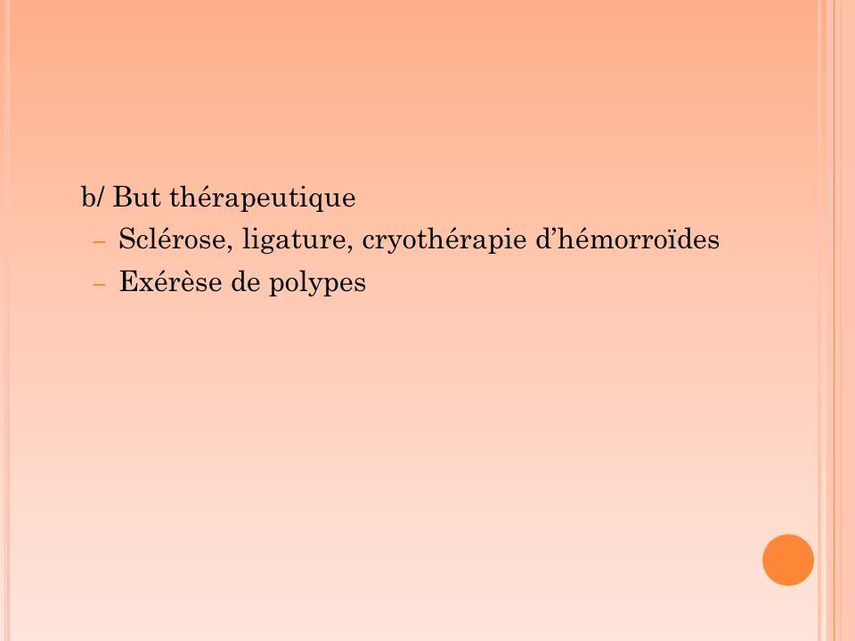b/ But thérapeutique Sclérose, ligature, cryothérapie d'hémorroïdes Exérèse de polypes