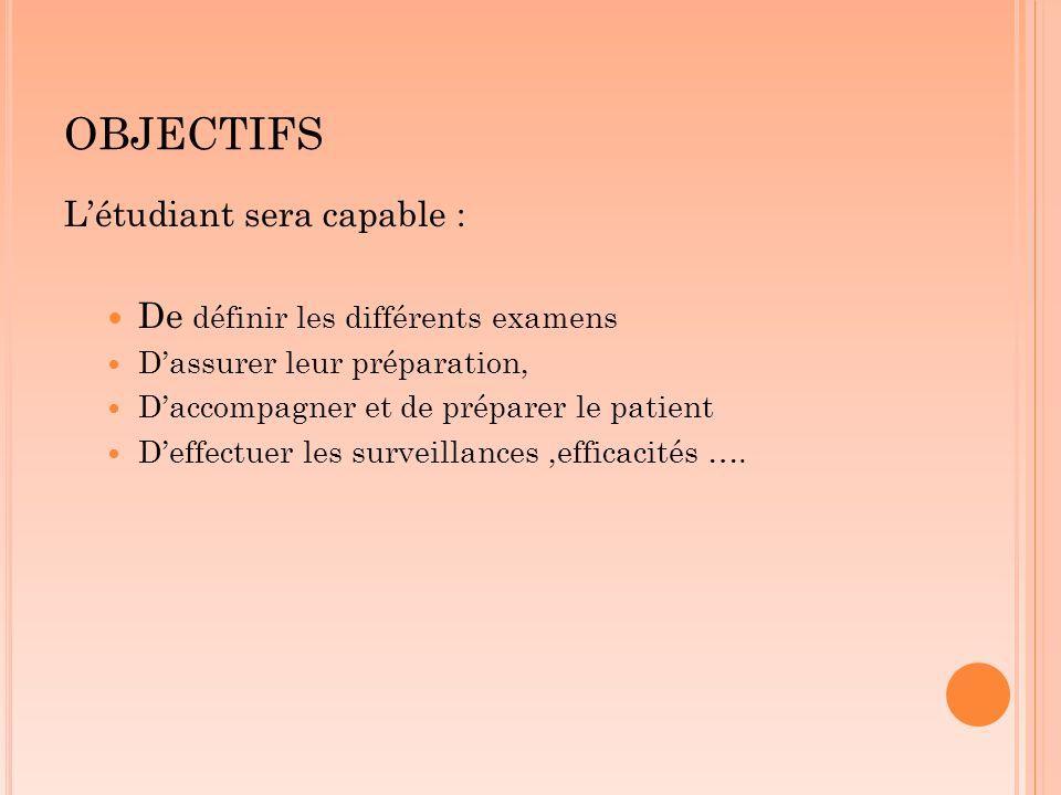 OBJECTIFS L'étudiant sera capable : De définir les différents examens