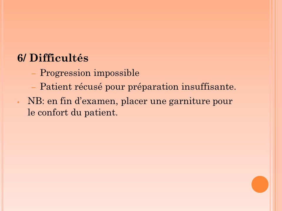 6/ Difficultés Progression impossible
