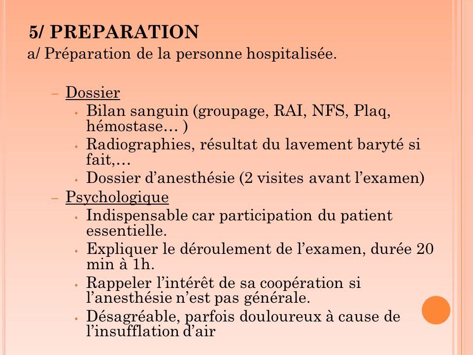 5/ PREPARATION a/ Préparation de la personne hospitalisée. Dossier