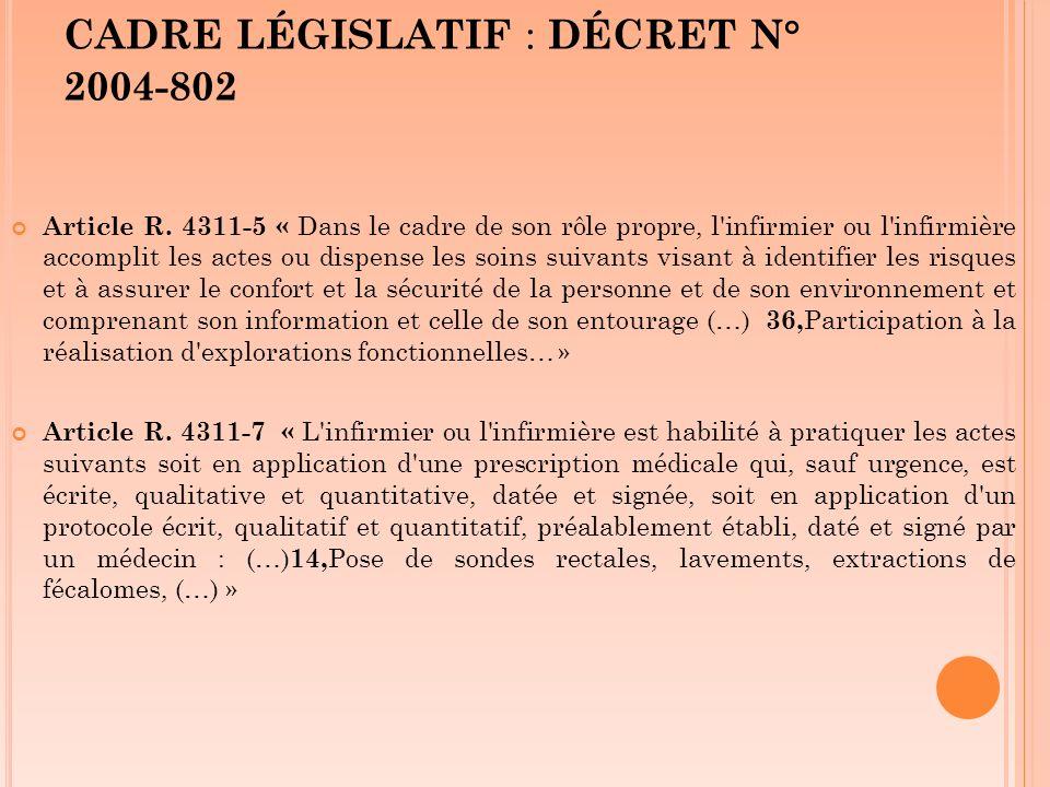 CADRE LÉGISLATIF : DÉCRET N° 2004-802