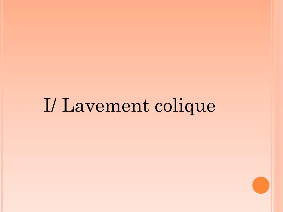 I/ Lavement colique