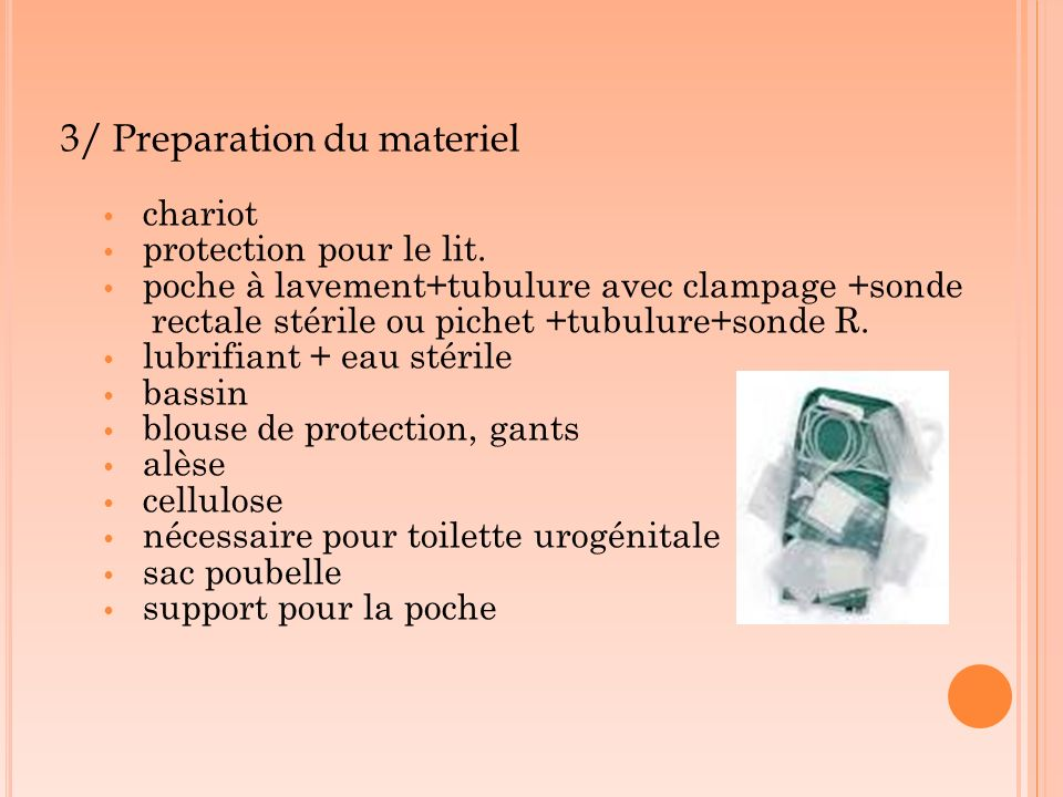 3/ Preparation du materiel