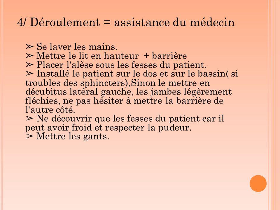 4/ Déroulement = assistance du médecin