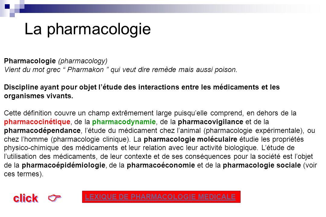 La pharmacologie  click Pharmacologie (pharmacology)