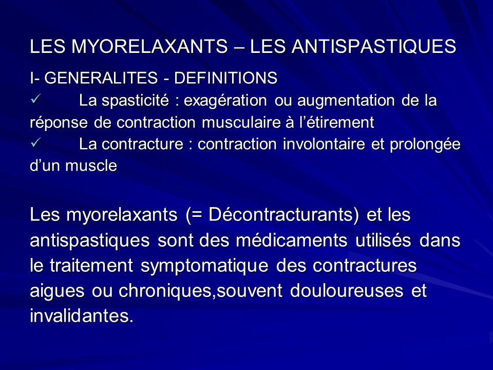 LES MYORELAXANTS – LES ANTISPASTIQUES