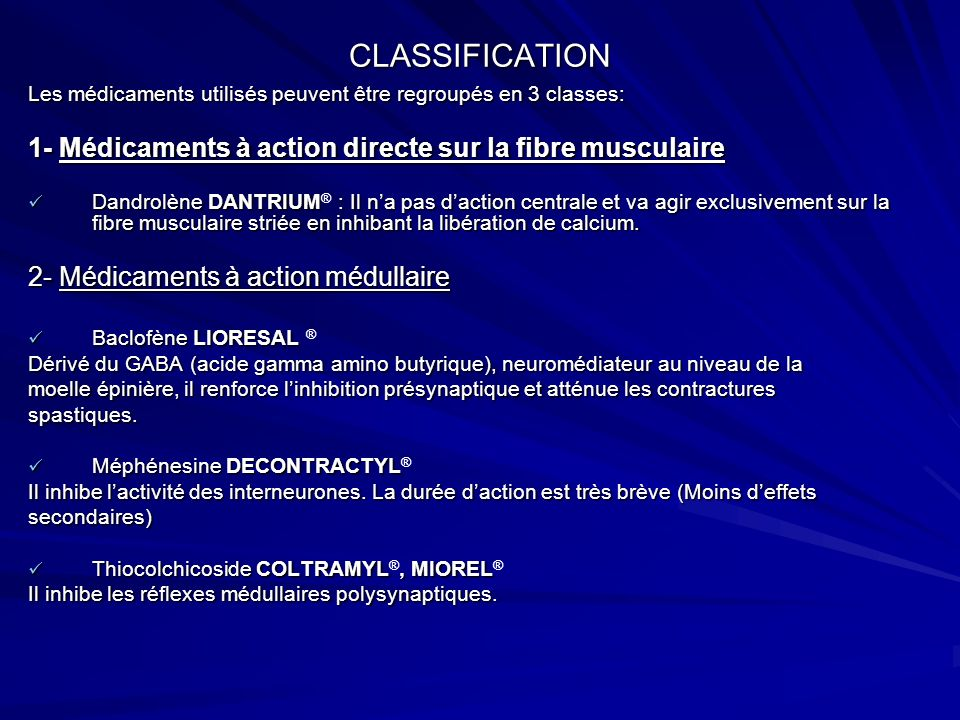 CLASSIFICATION 1- Médicaments à action directe sur la fibre musculaire