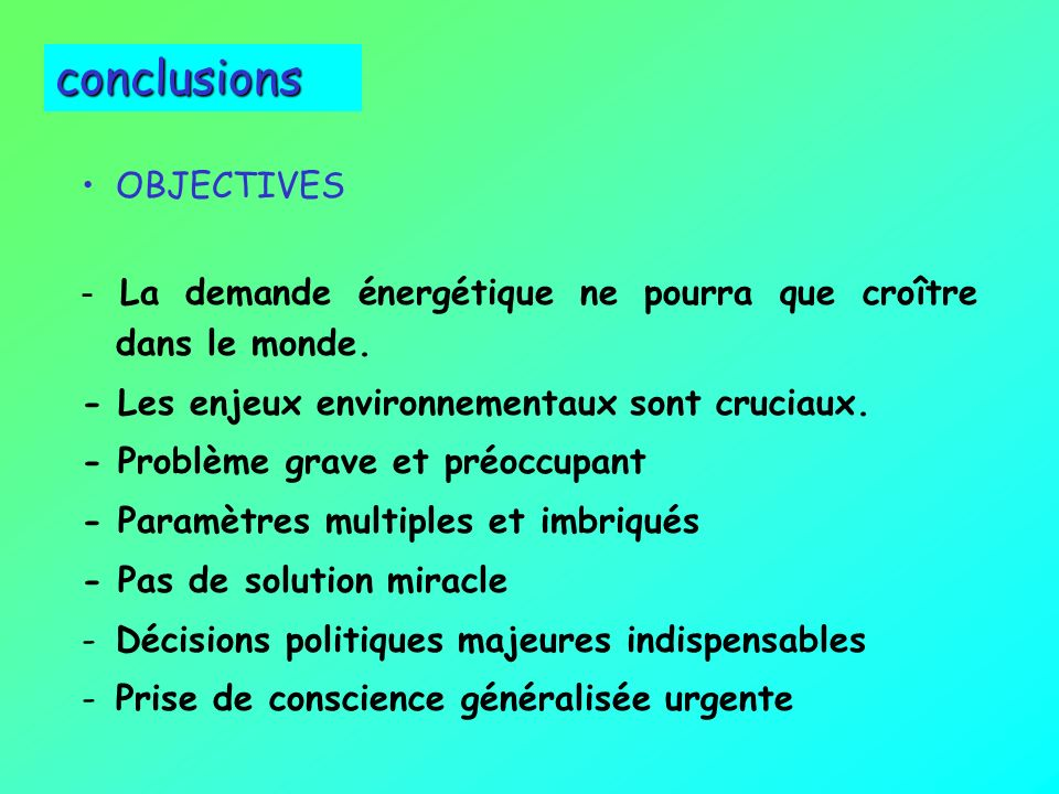 conclusions OBJECTIVES