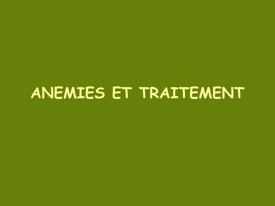 ANEMIES ET TRAITEMENT
