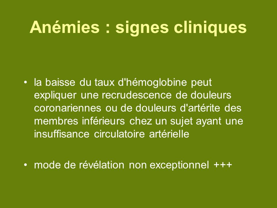 Anémies : signes cliniques