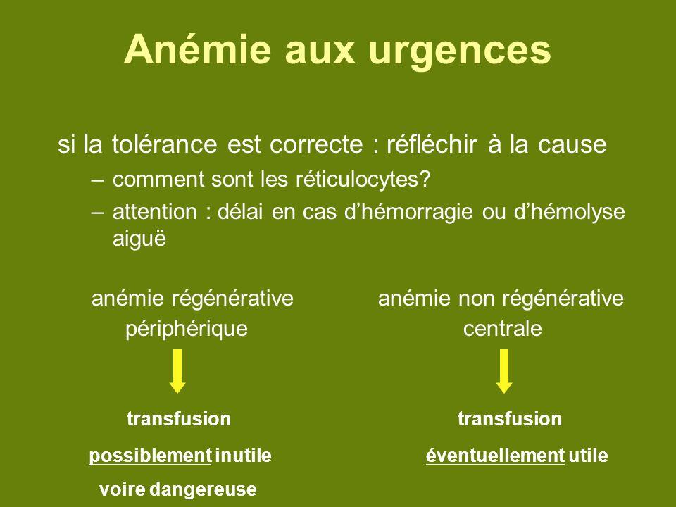 Anémie aux urgences si la tolérance est correcte : réfléchir à la cause. comment sont les réticulocytes