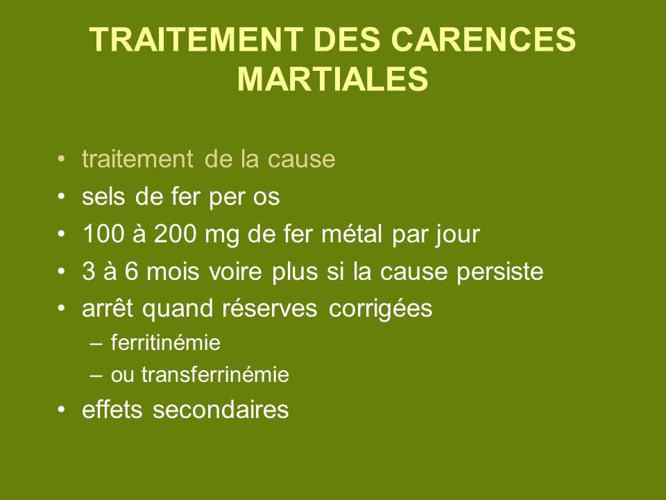 TRAITEMENT DES CARENCES MARTIALES