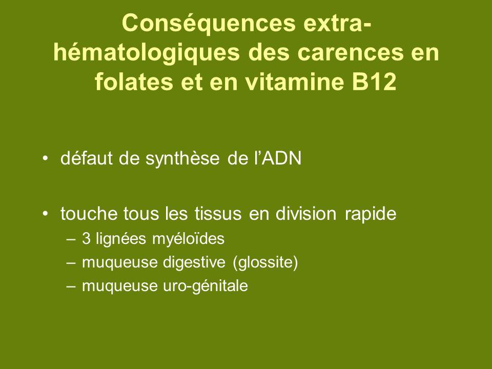 Conséquences extra-hématologiques des carences en folates et en vitamine B12