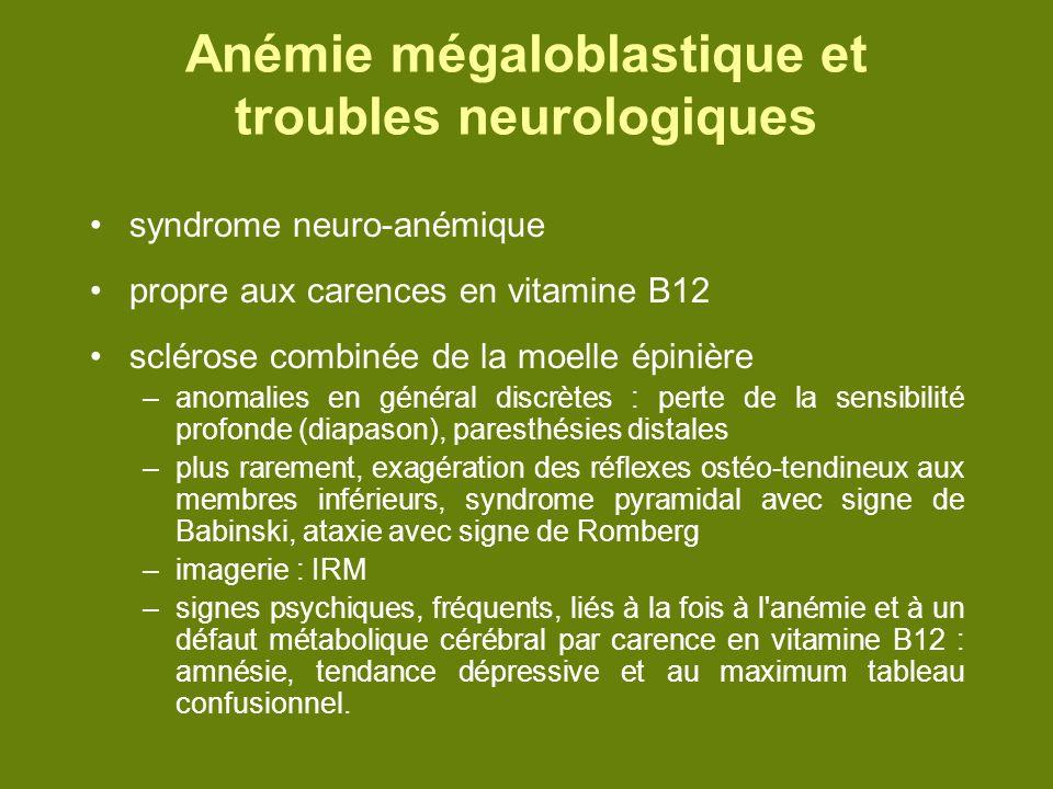 Anémie mégaloblastique et troubles neurologiques