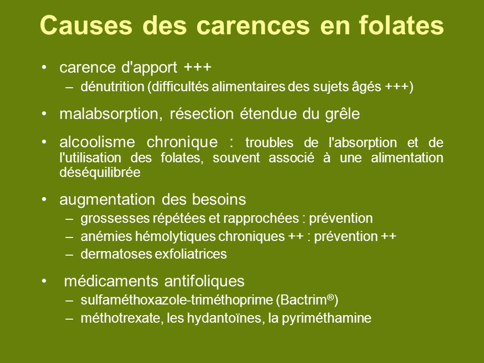 Causes des carences en folates