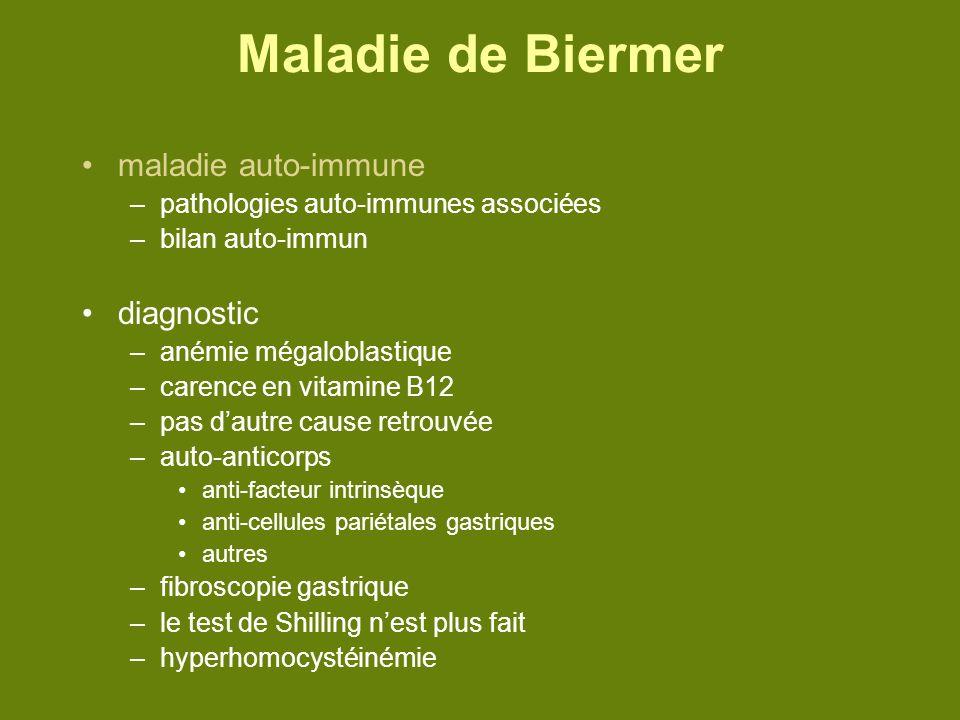 Maladie de Biermer maladie auto-immune diagnostic