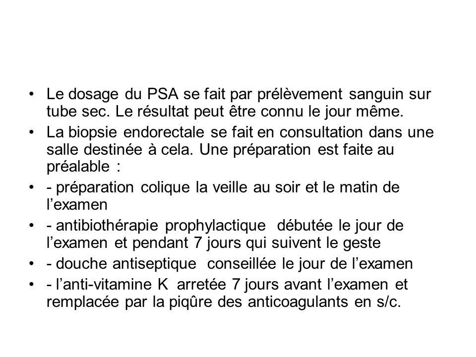 Le dosage du PSA se fait par prélèvement sanguin sur tube sec