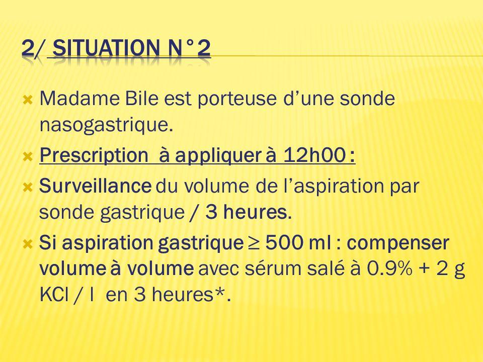 2/ situation N°2 Madame Bile est porteuse d'une sonde nasogastrique.