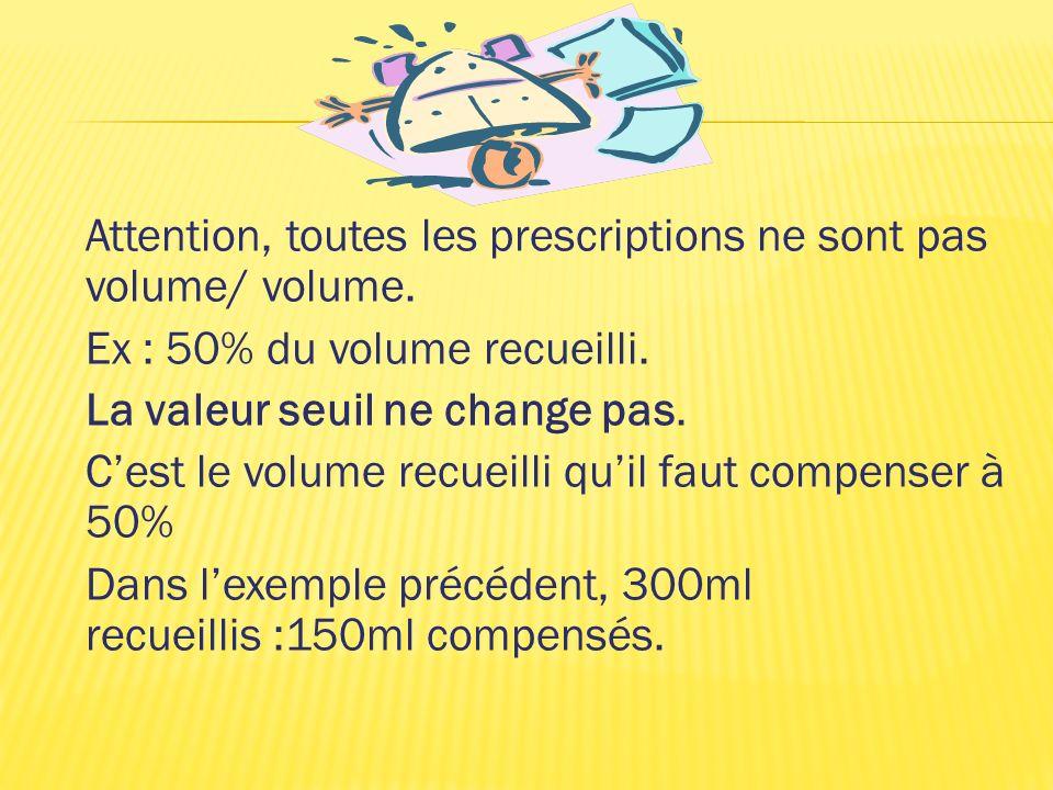 Attention, toutes les prescriptions ne sont pas volume/ volume.