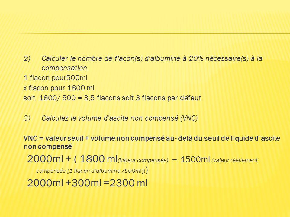 2) Calculer le nombre de flacon(s) d'albumine à 20% nécessaire(s) à la compensation.