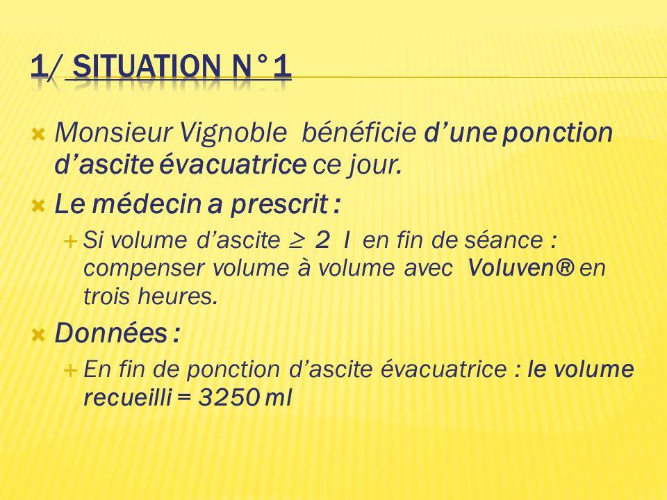 1/ situation N°1 Monsieur Vignoble bénéficie d'une ponction d'ascite évacuatrice ce jour. Le médecin a prescrit :