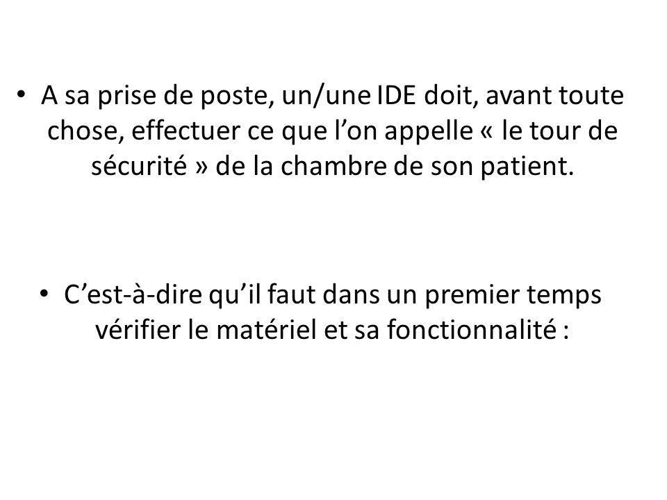 A sa prise de poste, un/une IDE doit, avant toute chose, effectuer ce que l'on appelle « le tour de sécurité » de la chambre de son patient.