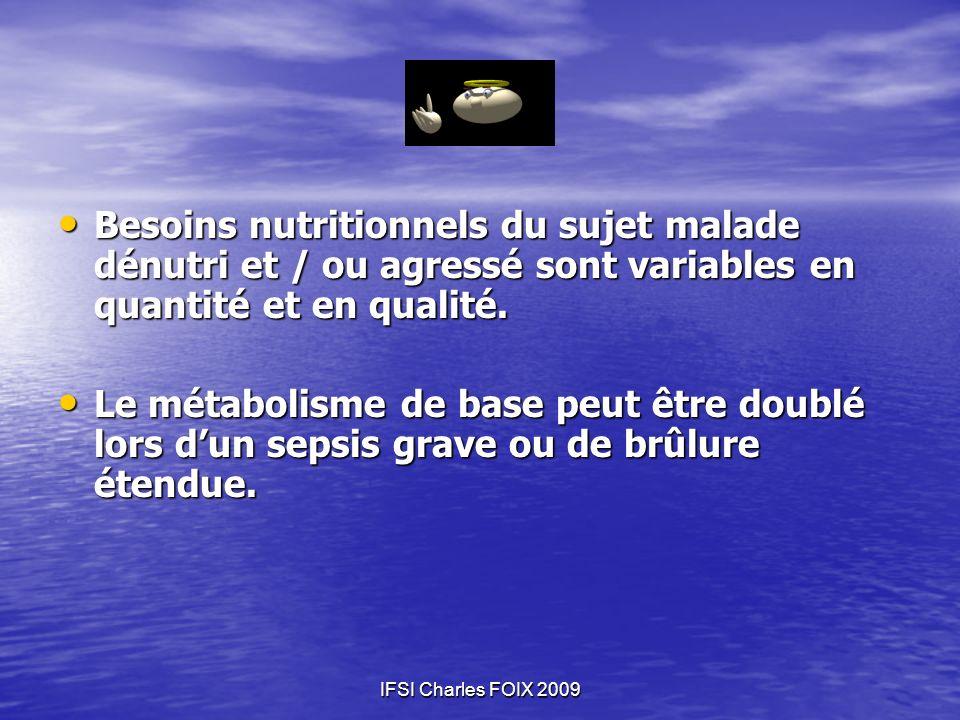 Besoins nutritionnels du sujet malade dénutri et / ou agressé sont variables en quantité et en qualité.