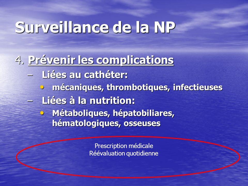 Surveillance de la NP 4. Prévenir les complications Liées au cathéter: