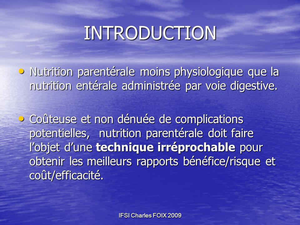 INTRODUCTION Nutrition parentérale moins physiologique que la nutrition entérale administrée par voie digestive.