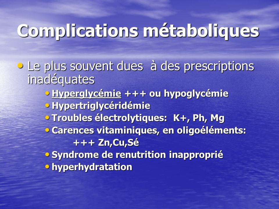 Complications métaboliques