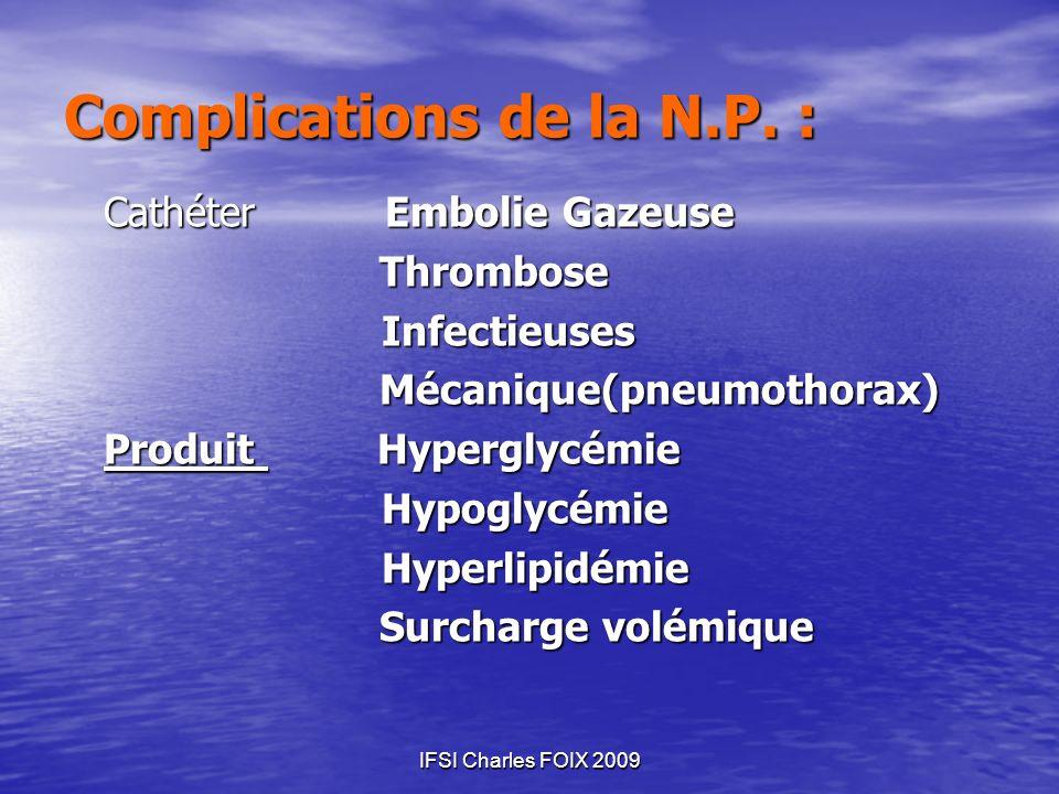 Complications de la N.P. :