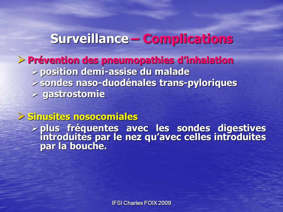 Surveillance – Complications