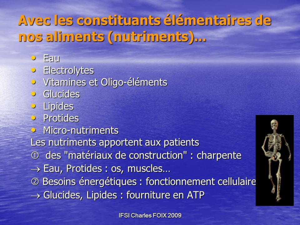 Avec les constituants élémentaires de nos aliments (nutriments)...