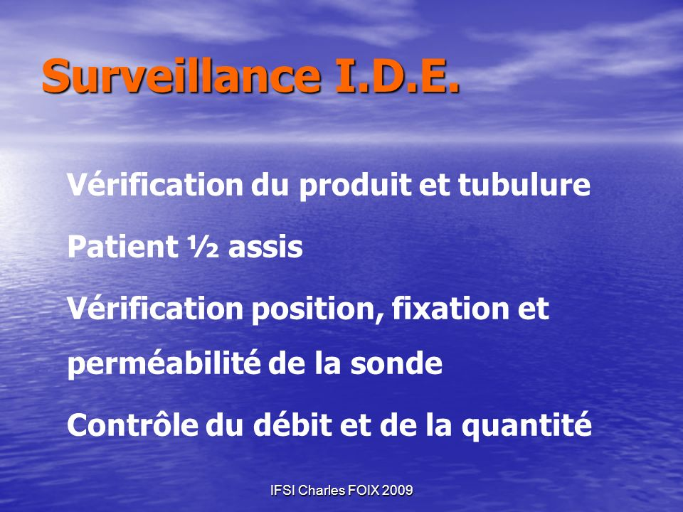Surveillance I.D.E. Patient ½ assis