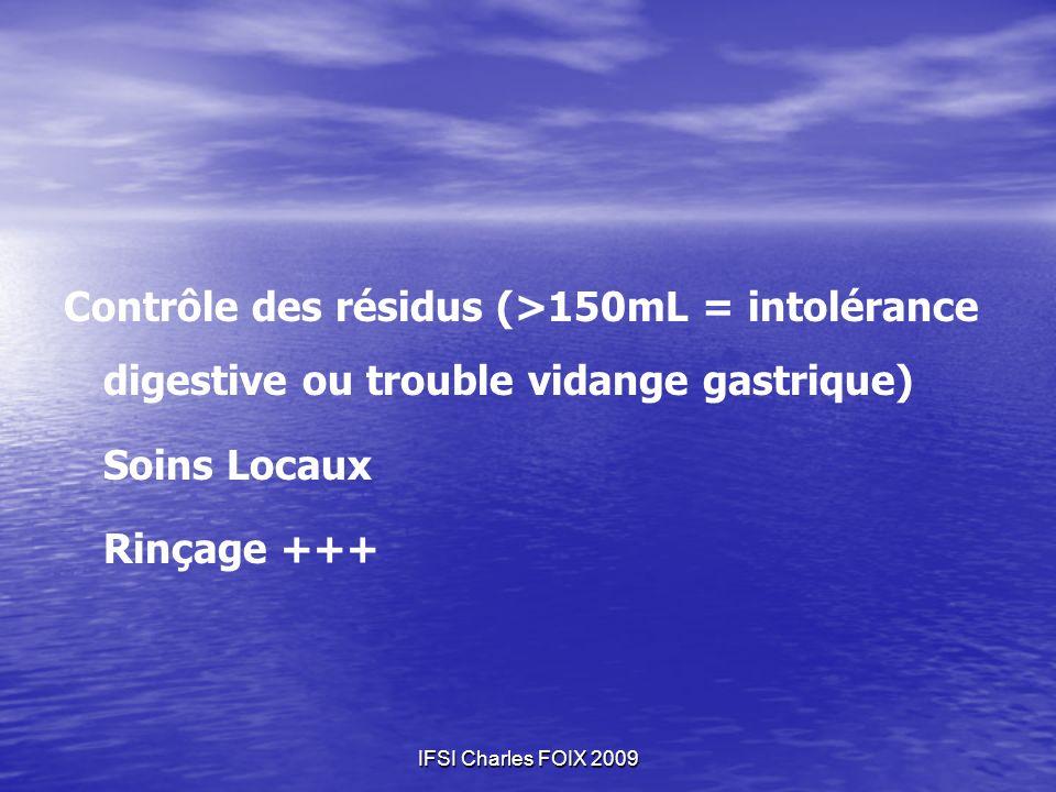 Contrôle des résidus (>150mL = intolérance digestive ou trouble vidange gastrique)