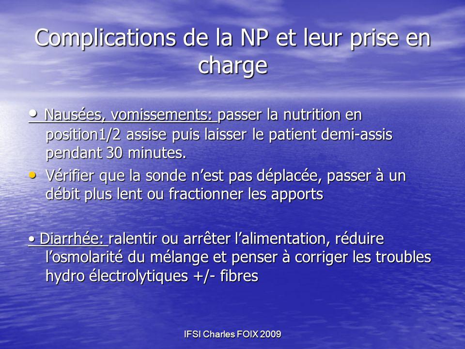 Complications de la NP et leur prise en charge