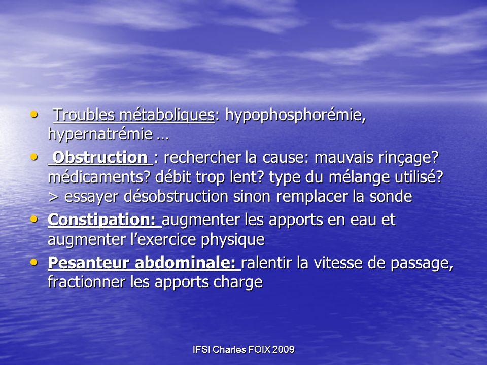 Troubles métaboliques: hypophosphorémie, hypernatrémie …