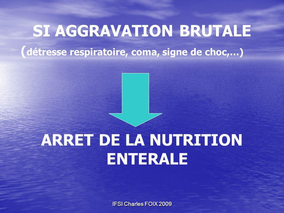 SI AGGRAVATION BRUTALE ARRET DE LA NUTRITION ENTERALE