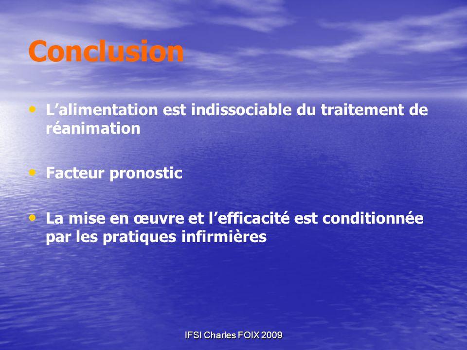 Conclusion L'alimentation est indissociable du traitement de réanimation. Facteur pronostic.